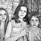 B&W Pencil Portrait, Josslyn, Tamsin and Jasper by bevgeorge