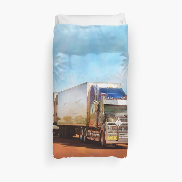 Kenworth Truck with three tailers Duvet Cover