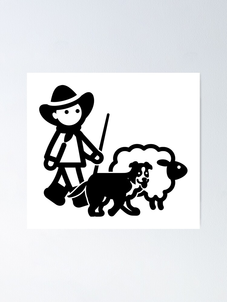 Alternate view of Farm Sheep Shepherd Clipart Poster