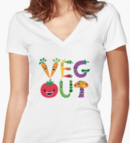 Veg Out - light colors Women's Fitted V-Neck T-Shirt