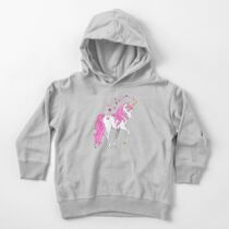 Pretty Pink Mane Unicorn and Stars Toddler Pullover Hoodie