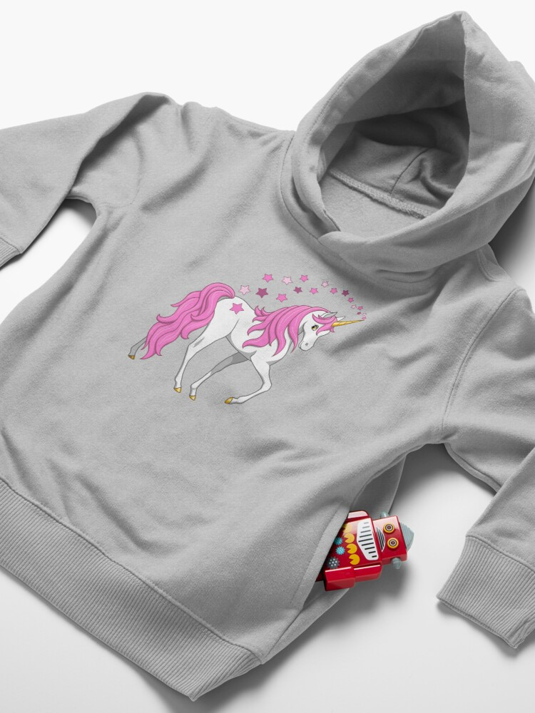 Alternate view of Pretty Pink Mane Unicorn and Stars Toddler Pullover Hoodie
