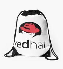 Red Hat Software Logo Sticker Drawstring Bag