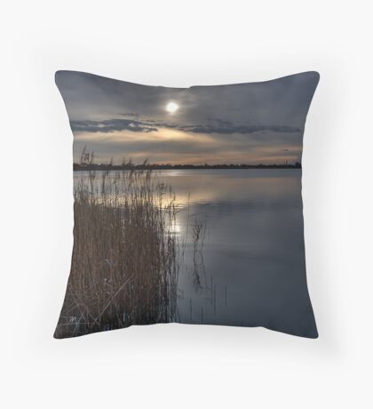 A winters day at Cherry lake as dusk approaches Throw Pillow