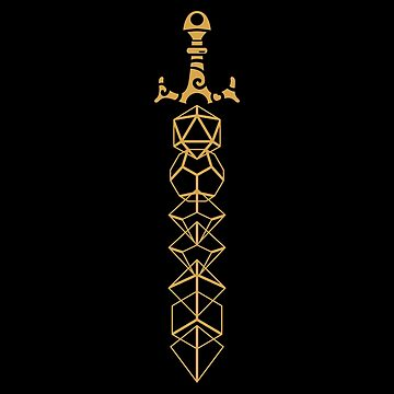 The Polyhedral Dice Collector's Gold Sword by pixeptional