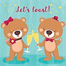 new year's eve cheers teddy bear by Angela Sbandelli