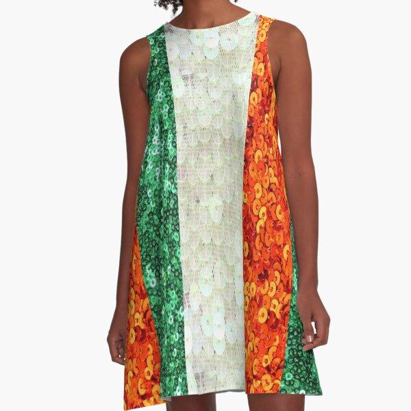 Irish,  Tri Color Flag,  Ireland,  Sequin,  Glitter,  Look,   Green White Orange A-Line Dress