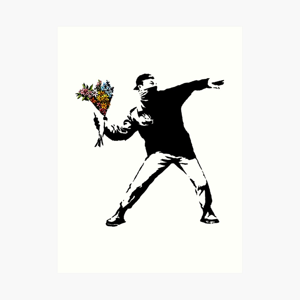 Banksy - rabia, lanzador de flores Lámina artística