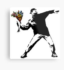 Banksy - Rage, Blumenwerfer Metalldruck