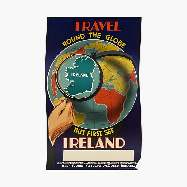 Vintage Ireland Travel Vacation Holiday Advertisement Art Poster Poster