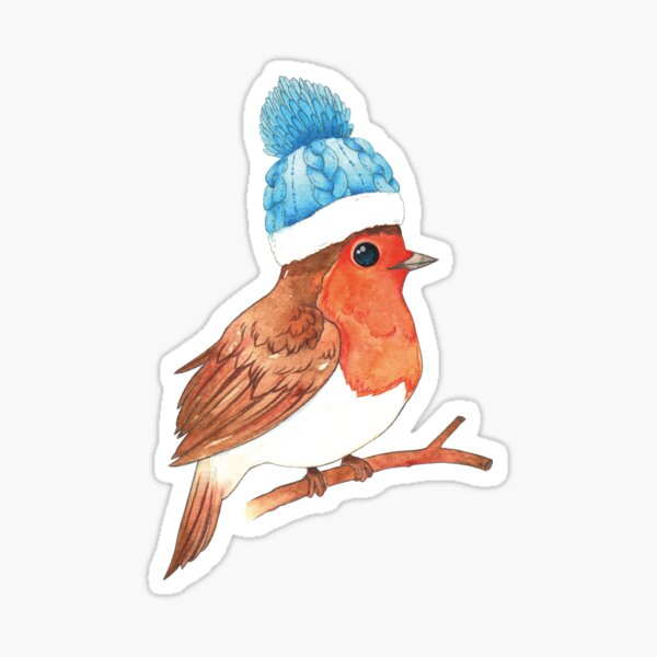 Robin with Beanie Sticker