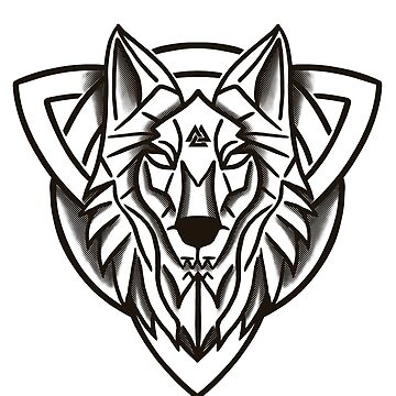 Triquetra Trinity Knot Norse Mytholgy Valnut Wolf by Ice-Tees