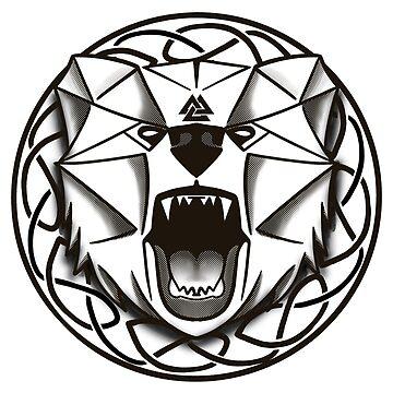 Celtic Know Norse Mytholgy Valknut Bear by Ice-Tees
