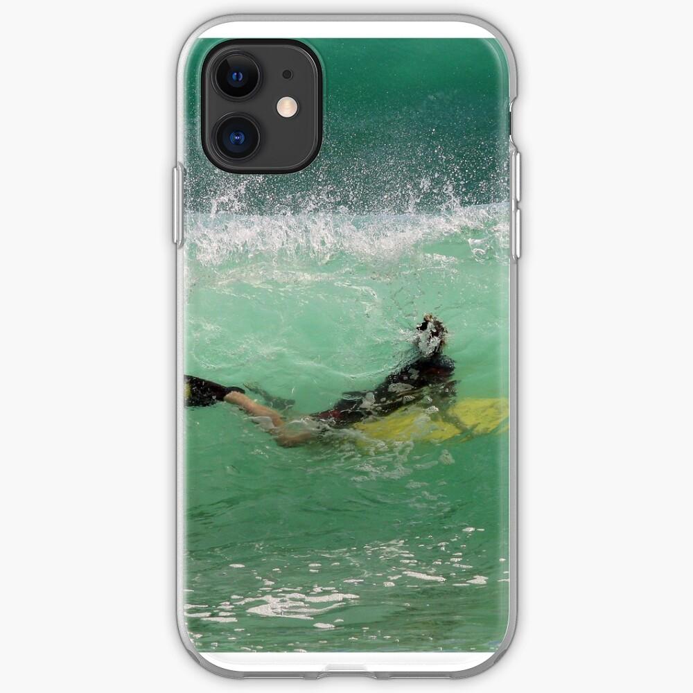 Bodyboarding inside a wave iPhone Soft Case