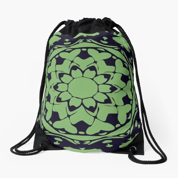 Dark Blue & Green Floral Abstract Mandala Drawstring Bag