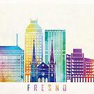Fresno landmarks watercolor poster by paulrommer