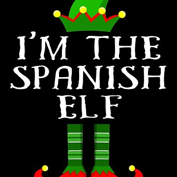 Spanish Elf T Shirt Matching Family Christmas Elf From Spain Christmas group green pjs costume pajamas for siblings, parents, friends, adults funny Xmas quote elf hat & shoes by bulletfast