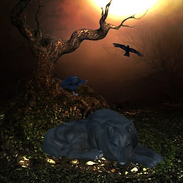 Awesome sleeping wolf in the night by nicky2342