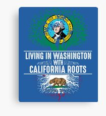 Washington Home California Roots State Tree Flag Art Gift Canvas Print