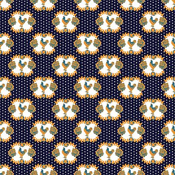 Cute Polka Dot and Floral Chicken Print - Blue and Yellow by annaleebeer