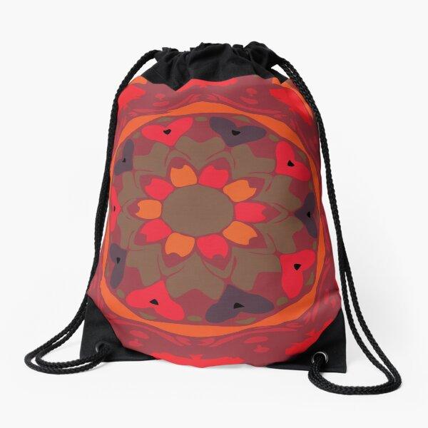 Orange Glow Floral Abstract Mandala Drawstring Bag