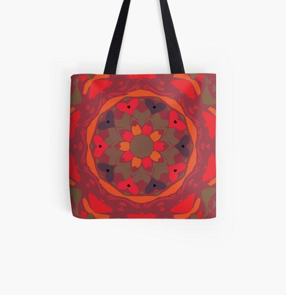 Orange Glow Floral Abstract Mandala All Over Print Tote Bag