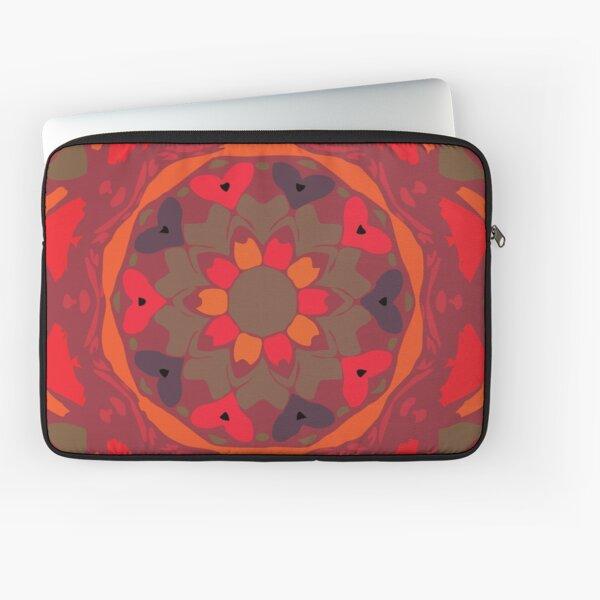 Orange Glow Floral Abstract Mandala Laptop Sleeve