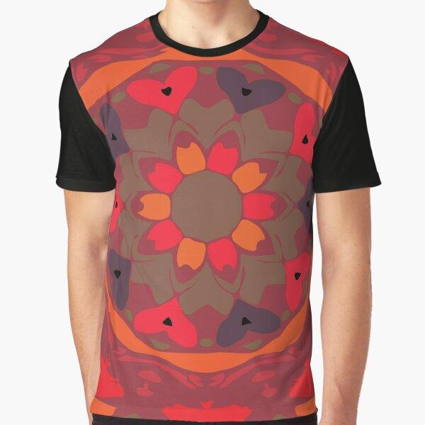 Orange Glow Floral Abstract Mandala Graphic T-Shirt