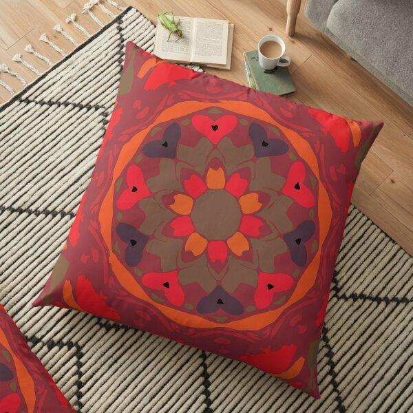Orange Glow Floral Abstract Mandala Floor Pillow