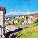 Landscape with buildings by Giuseppe Cocco