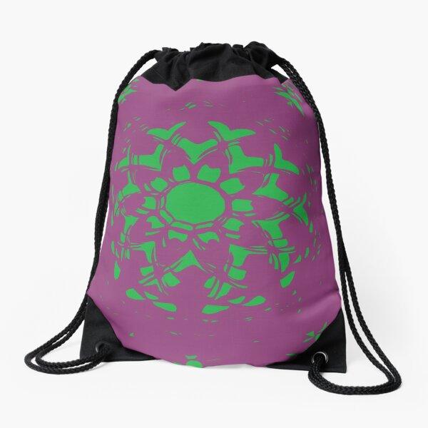 Vanishing Point Floral Abstract Mandala Drawstring Bag