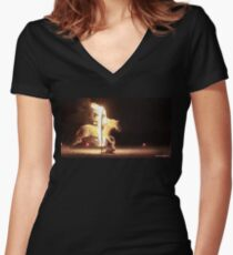 Horse of Fire Women's Fitted V-Neck T-Shirt