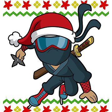 Ninja Ice Skate Snowflake Ugly Christmas by frittata