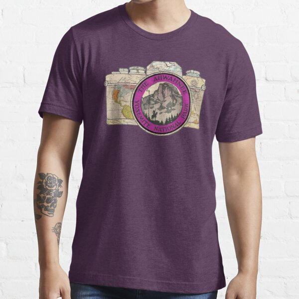 Map Camera with The Ahwahnee Yosemite National Park Vintage Travel Decal image in the Lens Essential T-Shirt