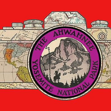 Map Camera with The Ahwahnee Yosemite National Park Vintage Travel Decal image in the Lens by Drewaw