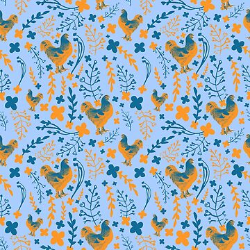 Lovely Blue and Orange Chicken Pattern with Flowers and Greenery by annaleebeer