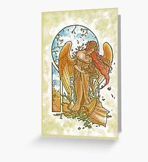 Angel of Autumn Mucha Inspired Art Nouveau Angels of the Seasons Series Greeting Card