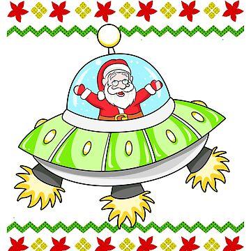 Santa UFO Snowflake Ugly Christmas by frittata