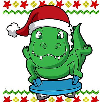 T Rex Santa Luge Snowflake Ugly Christmas by frittata