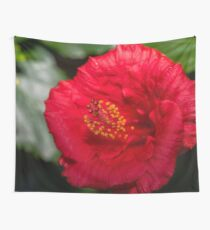Beautiful Bright Macro Photograph of a Red Hibiscus Flower Wall Tapestry