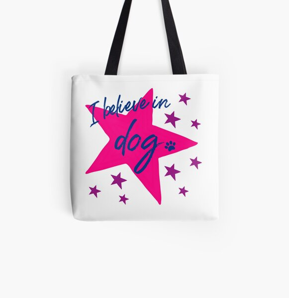 I Believe In Dog Navy, Pink & Violet Star Dog Slogan Gifts for Dog Lovers All Over Print Tote Bag