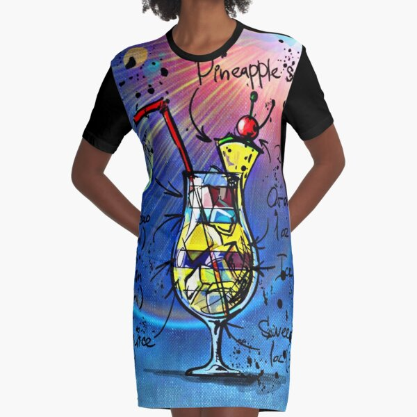 Blue Hawaii Cocktail Graphic T-Shirt Dress