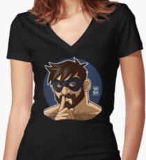 ADAM LIKES TO BE NAUGHTY Women's Fitted V-Neck T-Shirt