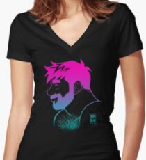 ADAM LIKES RAINBOWS Women's Fitted V-Neck T-Shirt