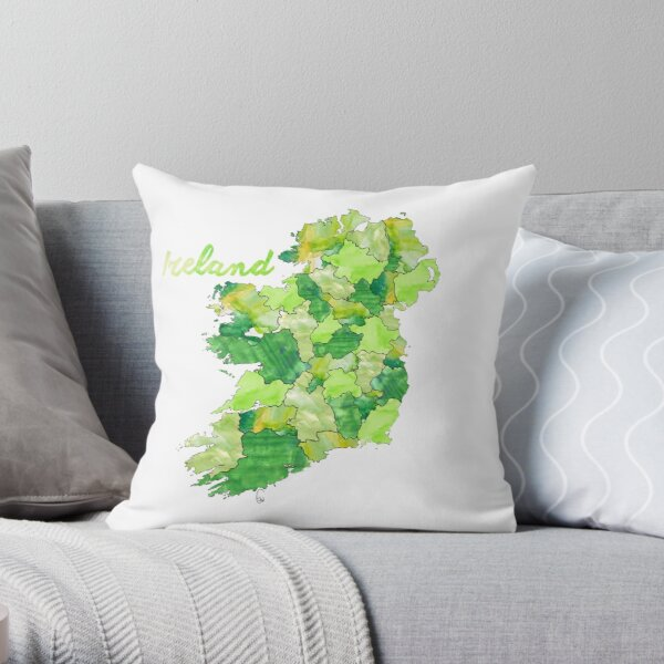 Watercolor Countries - Ireland Throw Pillow