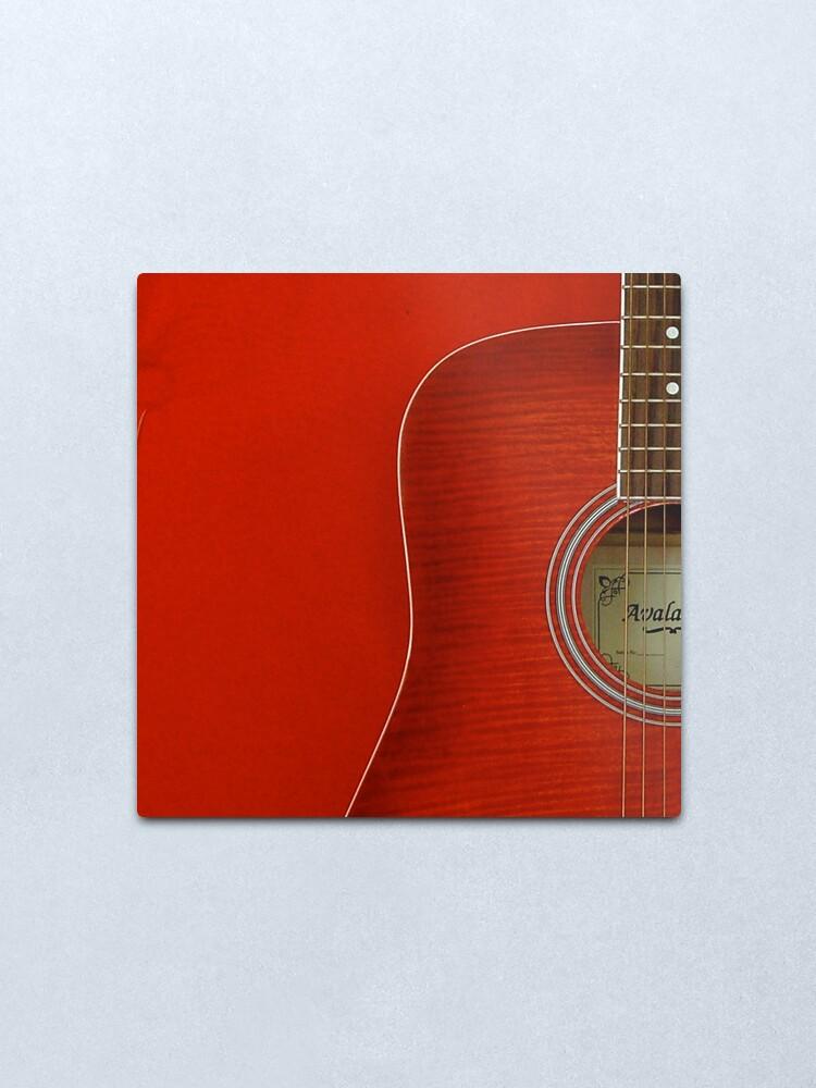 Alternate view of Red Guitar Metal Print