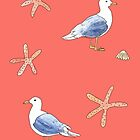 Seagull illustration with coral pink background by Sandra Connelly