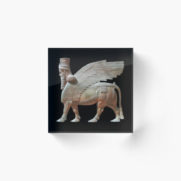 ASSYRIA, ASSYRIAN. Human headed winged bull. Lamassu Statue. On Black. Acrylic Block