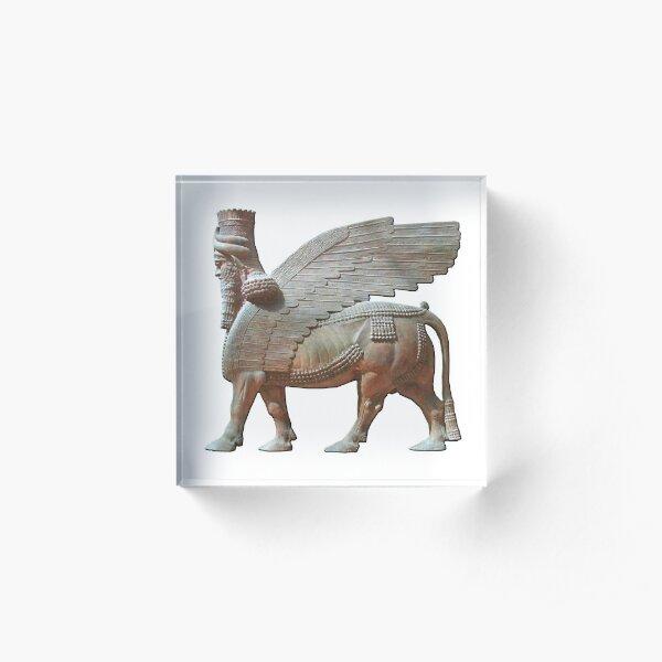 Human-headed winged bull. Assyrian Lamassu Statue. on White. Acrylic Block