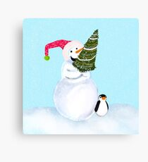 Smiling Snowman With Christmas Tree And Penguin Canvas Print